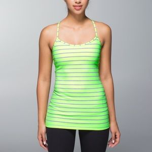 Lululemon | Power Y Neon Green & Gray Striped Tank